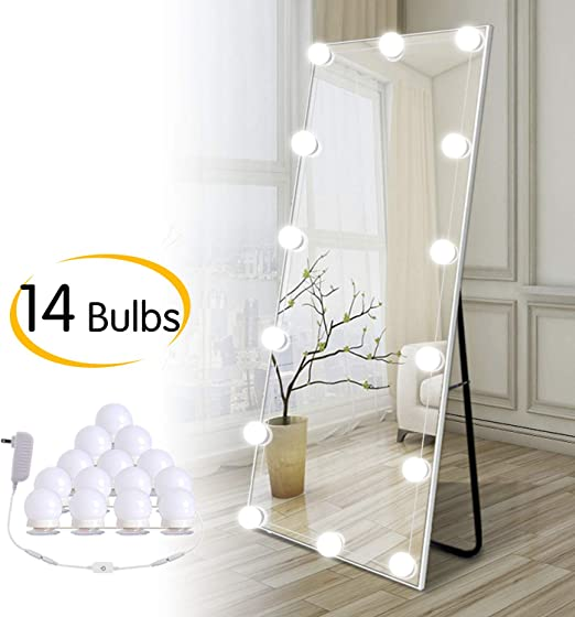Hollywood Diy Led Vanity Lights Strip Kit With 14 Dimmable Light Bulbs For Dressing Mirror Makeup Table Mirror Plug In Vanity Mirror Lights With