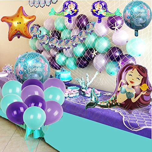 Mermaid Party Supplies Set Decoration,Mermaid Bunting Banner,Fish net,Latex Balloons,Mermaid Balloons for Girl's Party Under the Sea Theme Bridal and Baby Shower Mermaid Party Décor]()