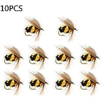 Kunstköder Set 10 Stück, Bionische Biene Fliegenköder, Angel-Köder für Forellen Barsch Hecht Angeln, 15mm / 0.59in