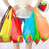Foldable Reusable Bag 100% Polyester Strawberry Shopping Bags by Btwzm, Pack of 10