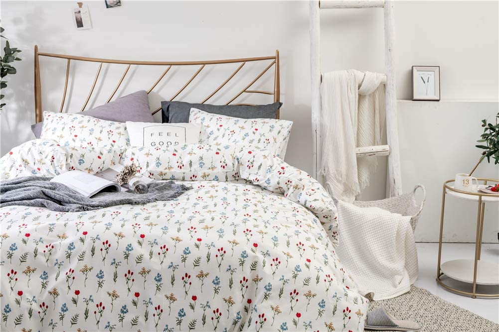 2-Pieces, Twin, Pink Stripes WINLIFE Striped Duvet Cover Set Cotton Pink White Strips Girls Bedding Set