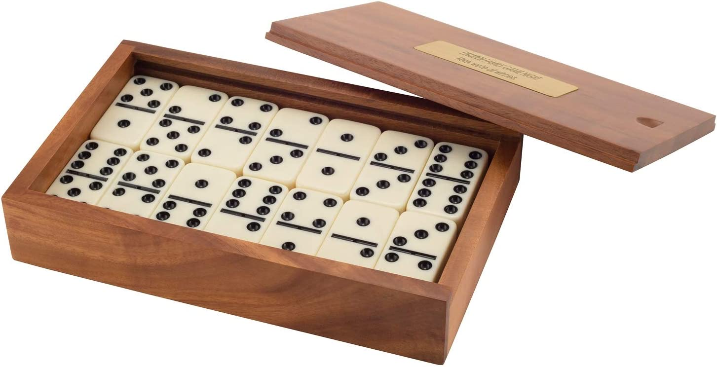 Things Remembered Personalized Acacia Wood Dominos Game Set with Engraving Included