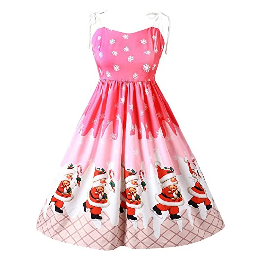 women christmas print dress christmas sleeveless patchwork printing vintage gown party dress