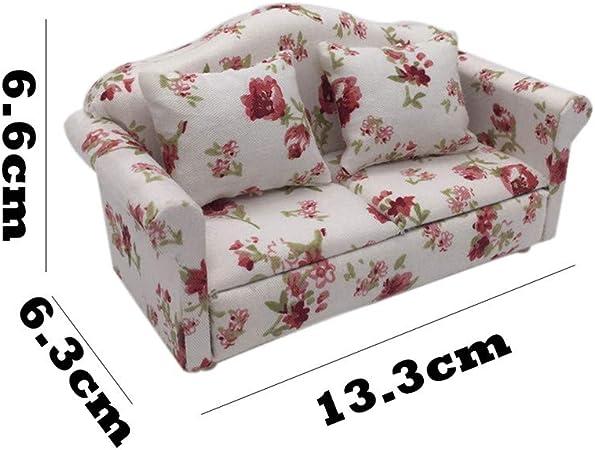 BIN 5 x Mini Blue Floral Living Room Set For 1:12 Dollhouse Furniture Minia L1H2