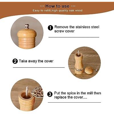 Haomacro Pepper Grinder,Wood Salt and Pepper Grinder Mills Sets Classic Manual