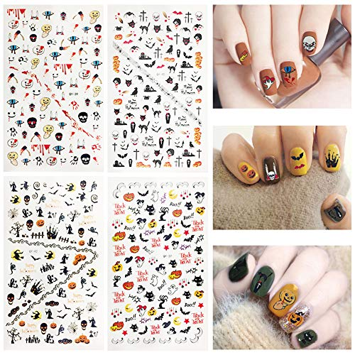 Halloween Nail Stickers 4 Sheets 3D Self-adhesive Nail Art Tattoo Decals for Halloween DIY Fingernail Decorations(Halloween nail stickers)