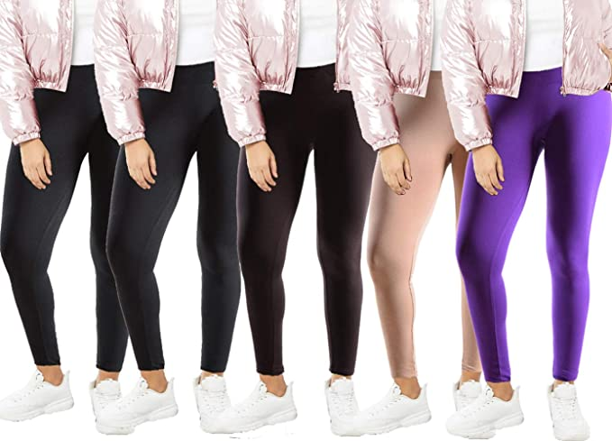 735eb2d5f14 Image Unavailable. Image not available for. Colour  Dinamit Jeans Women s Plus  Size Fleece Lined Thermal Leggings - 5 Pack ...
