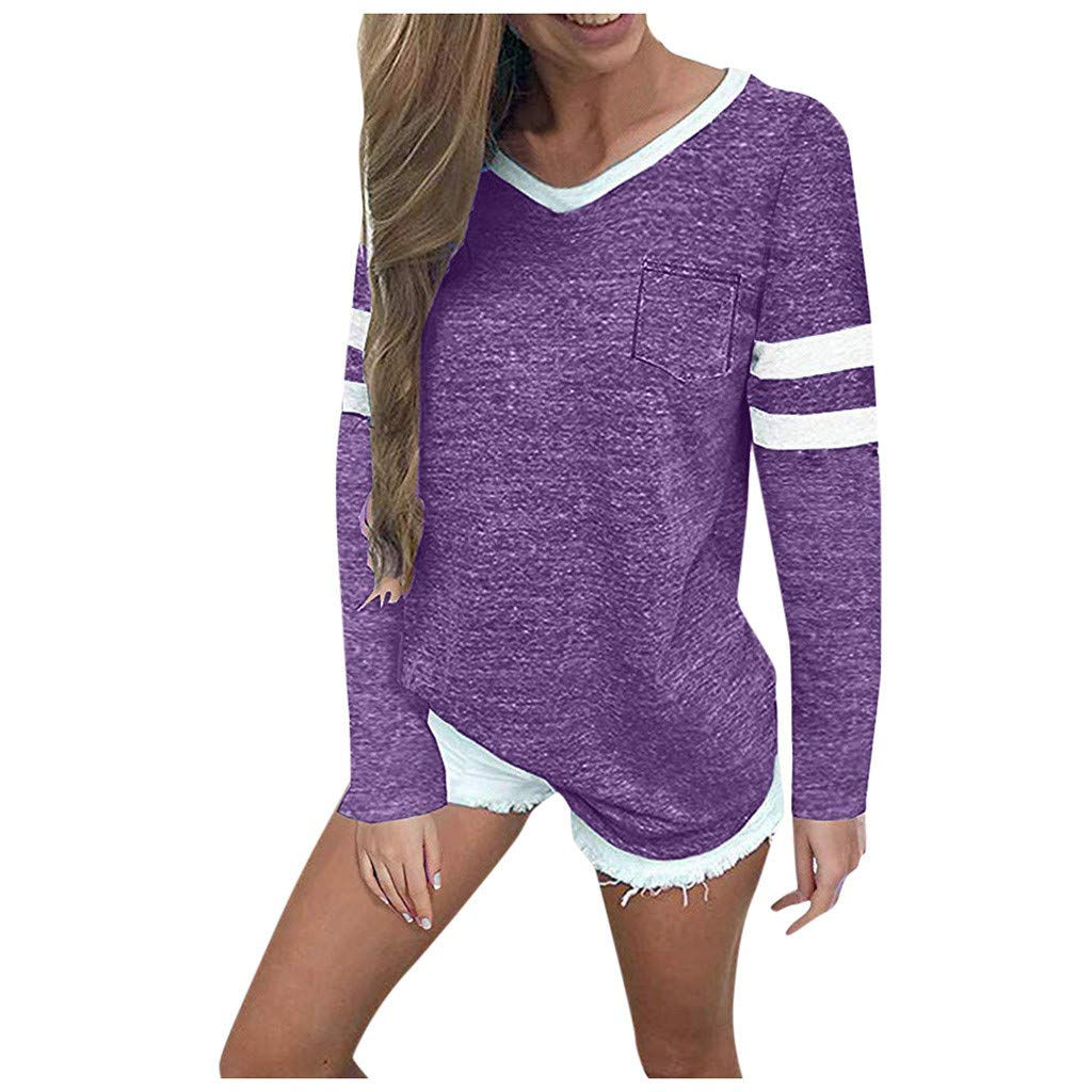SHUSUEN Womens Long Sleeve Round Neck T Shirts Color Block Striped Causal Blouses Tops Purple by SHUSUEN