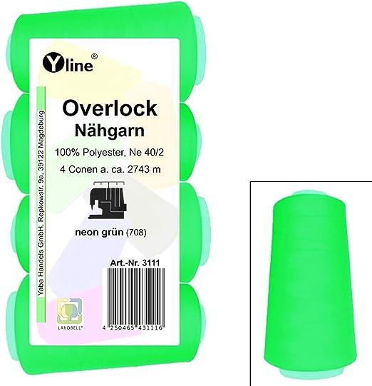 4 bobinas de hilo Overlock para coser, verde neón, 2743 m, NE 40/2 ...