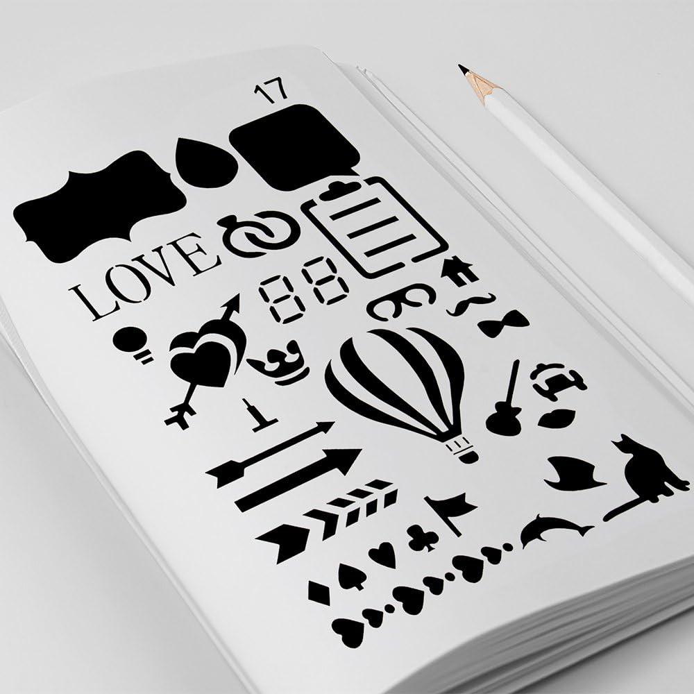 Bullet Journal Stencil 20 Pieces 4x7 Inch Plastic Planner Stencils Journal//Notebook//Diary//Scrapbook DIY Drawing Template Stencil