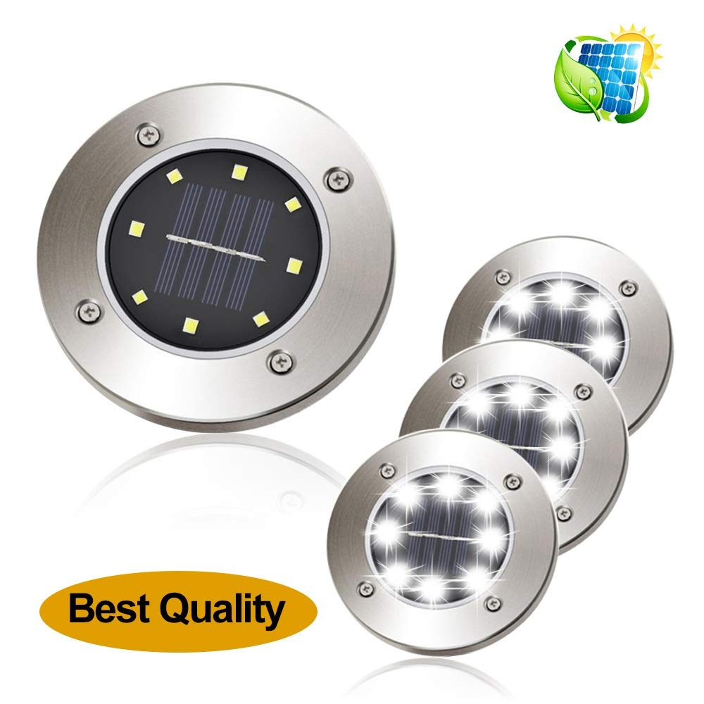 one into 2018 Solar Ground Lights Garden Pathway Outdoor in-Ground Lights Disk Lights LED Outdoor Lighting As Seen On TV Pack 4 (White)