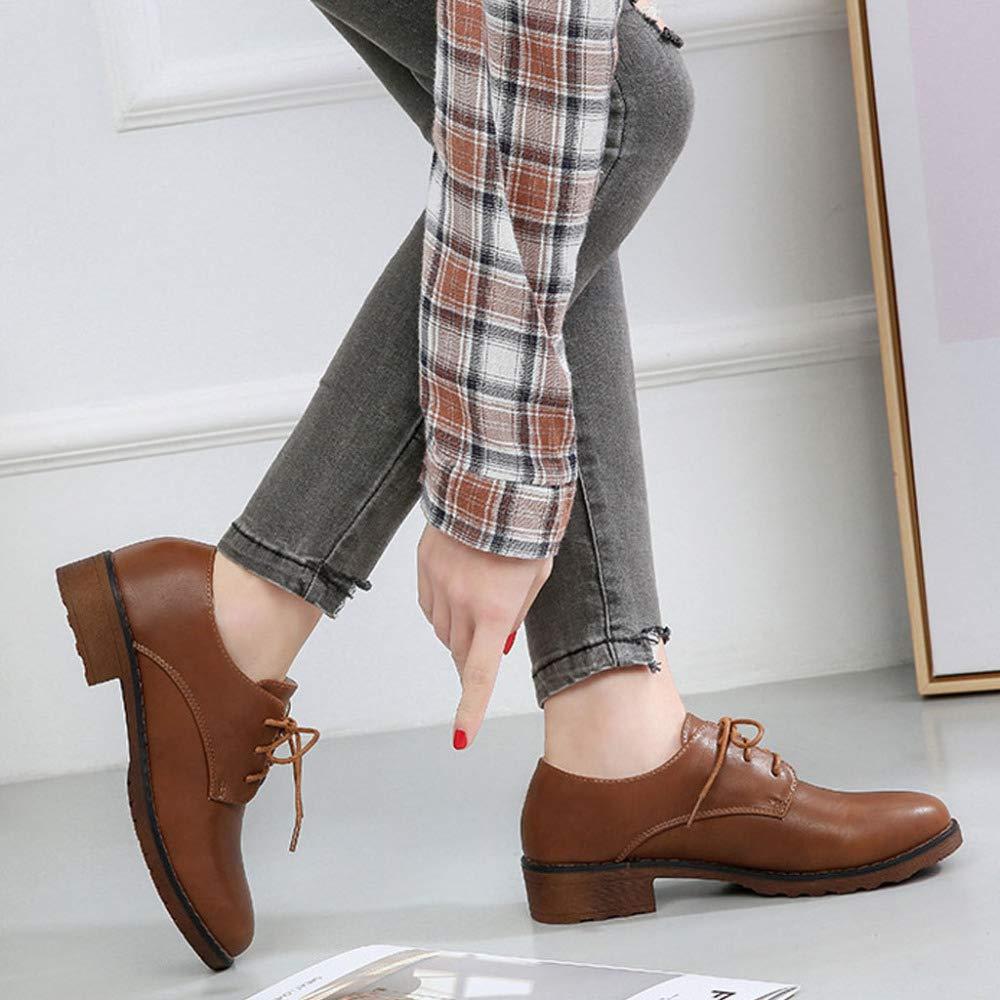 RegbKing Vintage Frauen Flache Schuhe Vintage RegbKing Lace Up Oxford Kleid Schuhe Perforierte Brogues Western Low Heel Schuhe Klassische Wohnungen Runde Zehe a244af