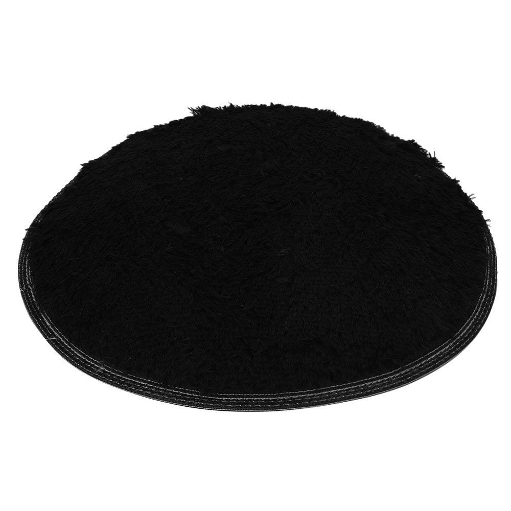 Clearance Tuscom Coral Fleece Round Rug Non-Slip Mat for Soft Bath Bedroom Floor Shower(10 Colors) (Black) by Tuscom@ (Image #2)