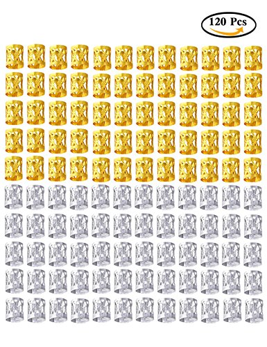 Fani Mixed Golden Silver 120 Pieces Dreadlocks Beads Aluminum Dread Locks Metal Cuffs Hair Decoration Braiding Hair Jewelry(Silver and Golden)