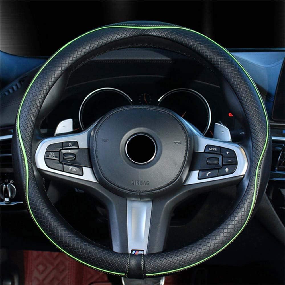 Orange Xihaoer Genuine Black Leather Steering Wheel Cover for Men