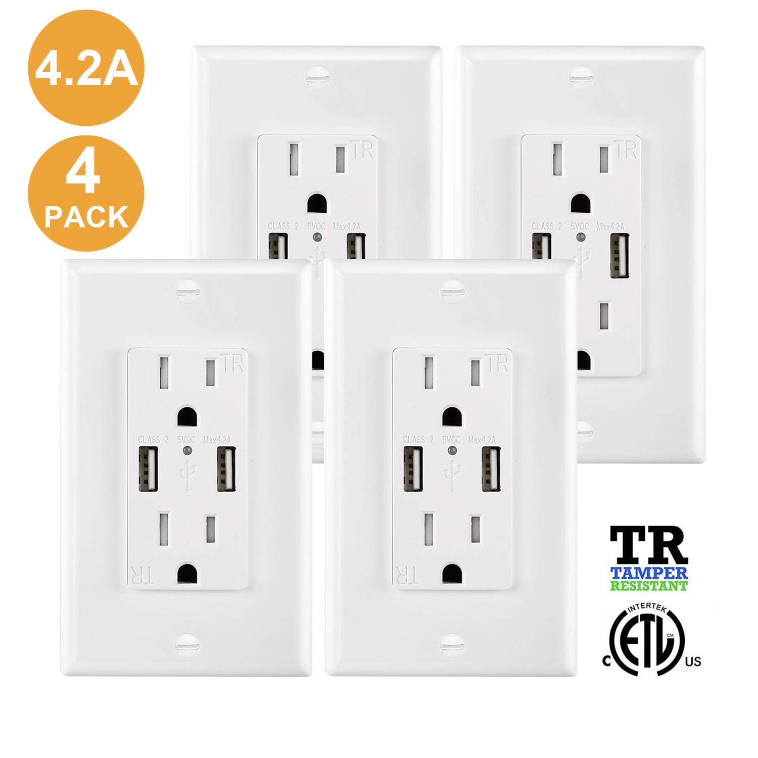 USB Outlet Wall Charger Outlet 4 Pack, 4.2A High Speed Decora Outlet Receptacle with Dual USB Ports 15A 125V 60Hz Tamper Resistant & Free Wallplate, White