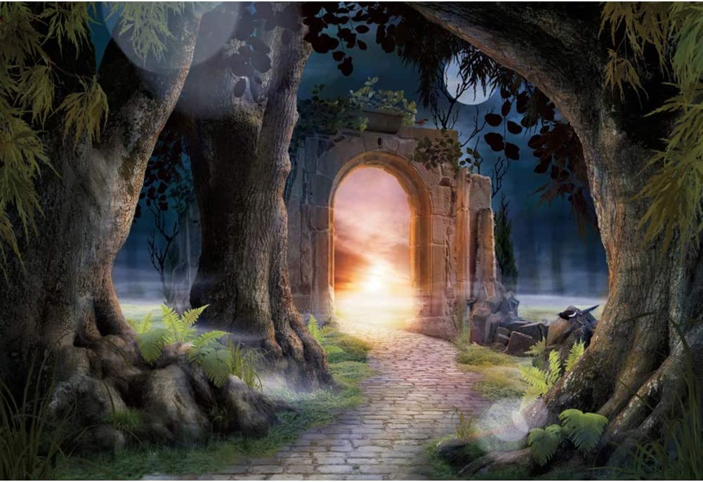 YongFoto 10x9ft Enchanted Fairy Garden Photography Background for Kids Birthday Decor Mysterious Forest Archway Pathway Old Trees Fairy Tale Backdrop Birthday Party Banner Kids Portrait Photo Props