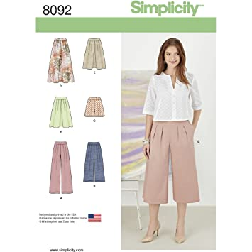 Simplicity Schnittmuster Röcke/Pants/Culotte und Shorts ...