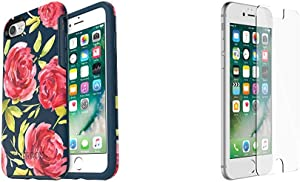 OtterBox SYMMETRY SERIES Case for iPhone 8 & iPhone 7 - Retail Packaging - BOUQUET (BLAZER BLUE/BLAZER BLUE/BOUQUET GRAPHIC) & OtterBox ALPHA GLASS SERIES Screen Protector for iPhone 6/6s/7/8 CLEAR