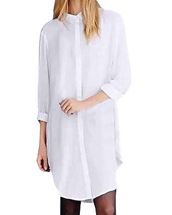 13897eb5b3f9 ZANZEA Femme Grand Tailles Boutons Chemise Longue Lâce Mini Robe Tops Hauts  Blouse Shirt Blanc EU