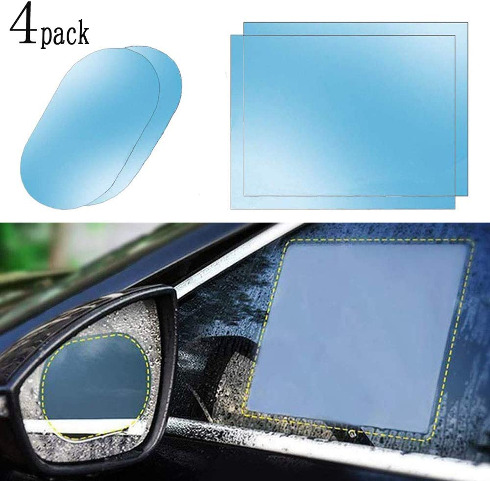 POWLAB Rear View Mirror Film Anti-Mist Film Protector Safety Driving Rear View Mirror Film for Car Mirrors and Side Windows 4 PCS HD Anti-Fog Waterproof Rainproof Mirror Window Clear Sticker