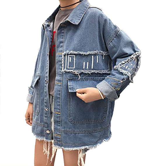 1a4c4aef62e1f HANMAX Vest en Jeans Femme Décontractée Longue Col Roulé Manches Longue  Déchirée Blouson Denim Boyfriend Ample
