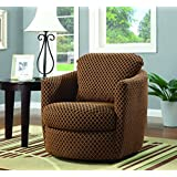 Coaster Casual Brown Upholstered Swivel Accent Chair