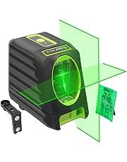 Huepar Línea láser de alineación autonivelante, nivel láser verde BOX-1G Nivel láser de línea cruzada para exteriores de 45m con una selección de haz láser vertical y horizontal de 150°