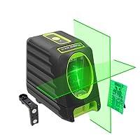 Niveau laser vert autonivelant - Huepar Box-1G 150ft / 45m Niveau laser horizontal transversal avec faisceau vertical de 150 °, lignes laser sélectionnables Couverture de 360 ° Inclut la base magnétique et les piles (trépied non inclus)