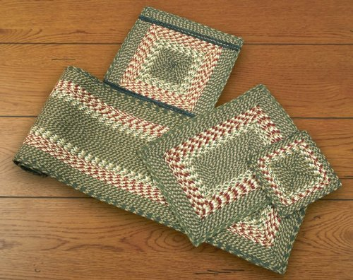 Earth Rugs 54-009 Green-Burgundy Rectangle Table Runner