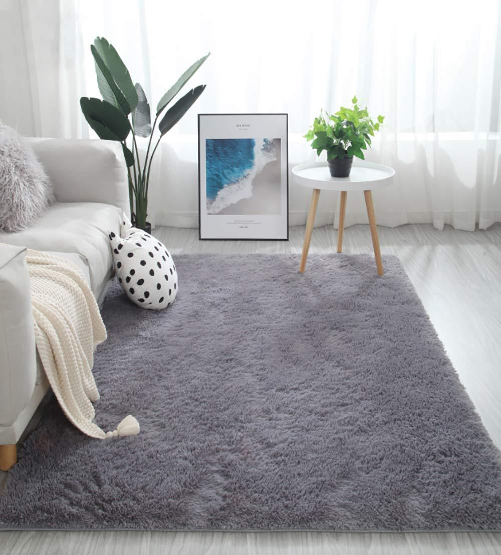 Fluffy Soft Kids Room Baby Nursery Rug, Anti-Skid Large Shaggy Fur Area Rug, Luxury Comfy Bedroom Living Room Rug Indoor Home Decor Carpet, 5 X 8 Feet, Grey