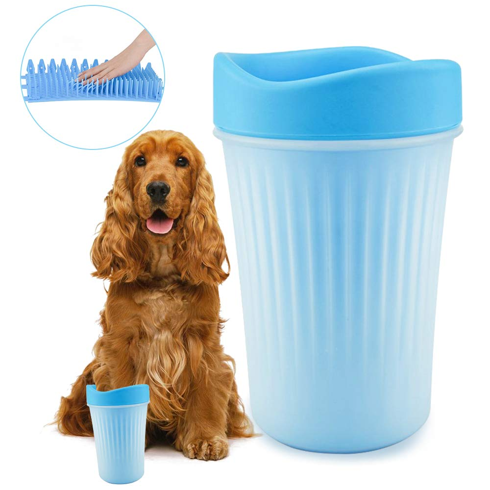 Petcabe Dog Paw Cleaner Dog Plunger Feet Washer Muddy Paw Cleaner Cup for Dogs Puppy with Silicone Brush (New Large)