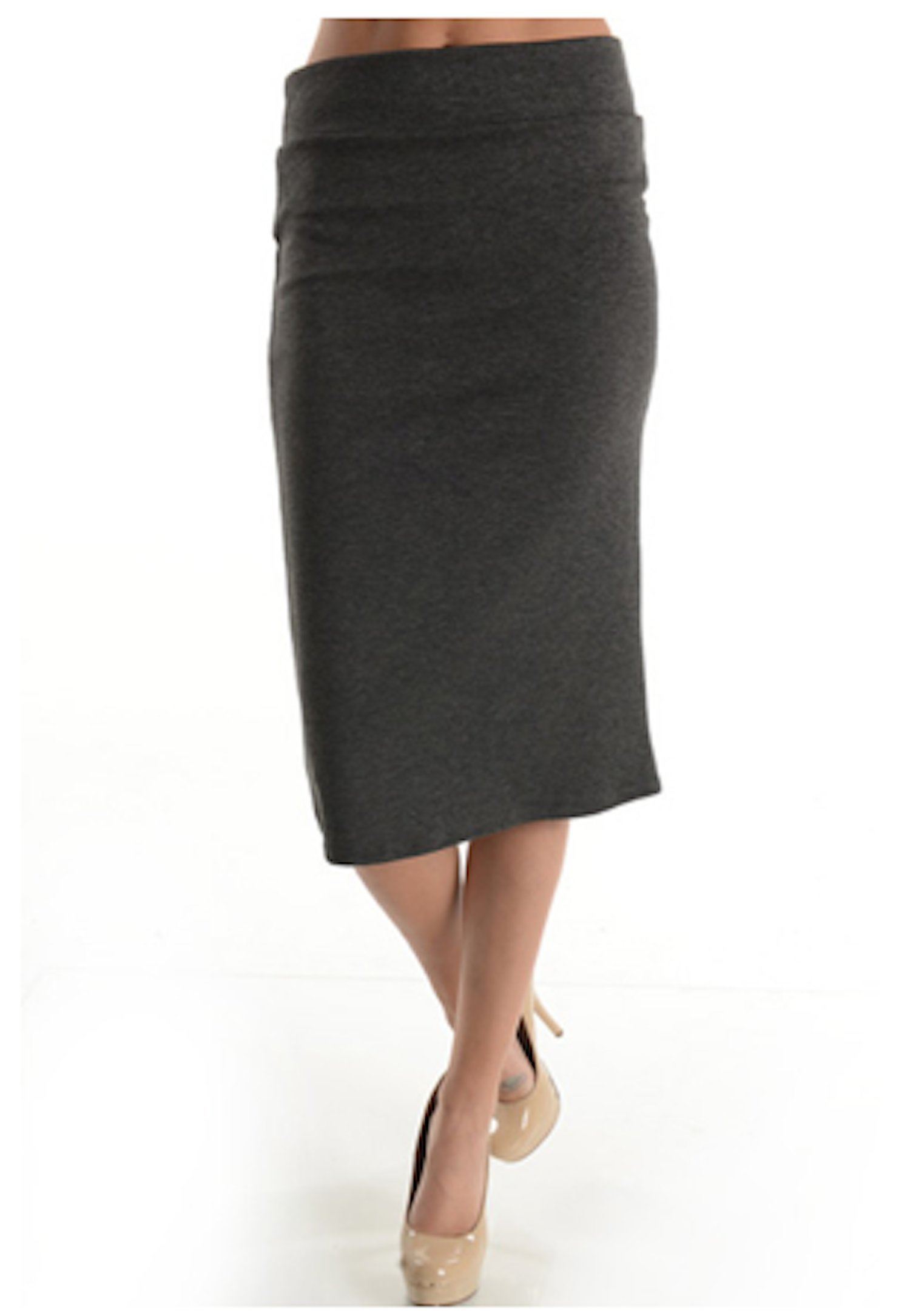 Azules Women's below the Knee Pencil Skirt - Made in USA (M, Charcoal)