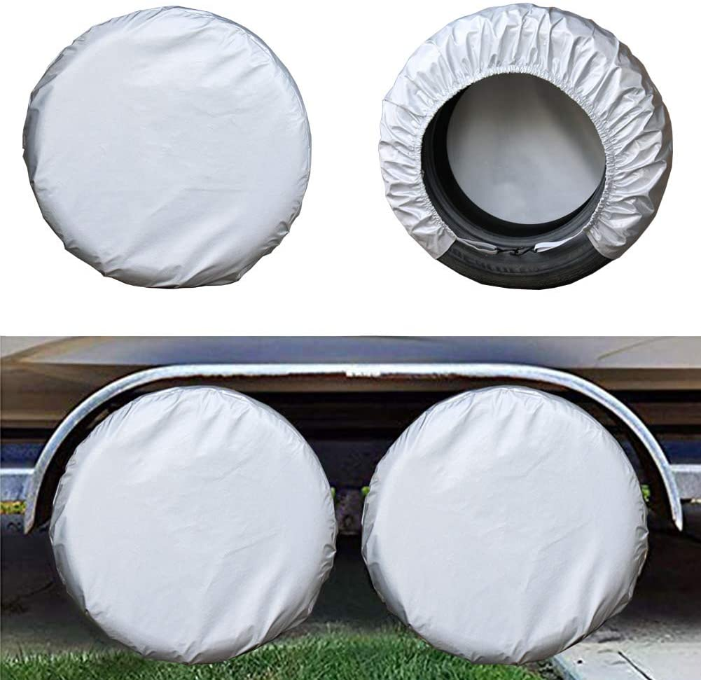 Kayme Rv Tire Covers Set of 4, Travel Trailer Camper Truck SUV Motorhome Waterproof Wheel Cover, Sun Rain Snow Protector, Fit 36-39 inch Tire Diameter/Silver