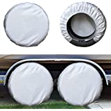 Kayme Four Layers Tire Covers Set of 4 for Rv Travel Trailer Camper Vinyl Wheel, Sun Rain Snow Protector, Waterproof…