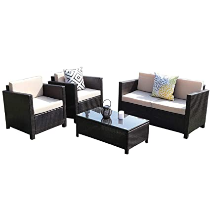 Wisteria Lane 5 Piece Outdoor Patio Furniture Set, Sectional Conversation Set  Wicker Sectional Sofa Garden