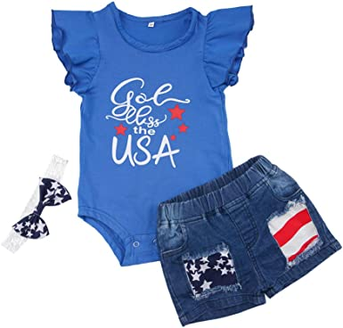 for 0-4 Years Old Kids Toddler Girls Boys Stars Striped Tops Vest Shorts 4th of July Outfits