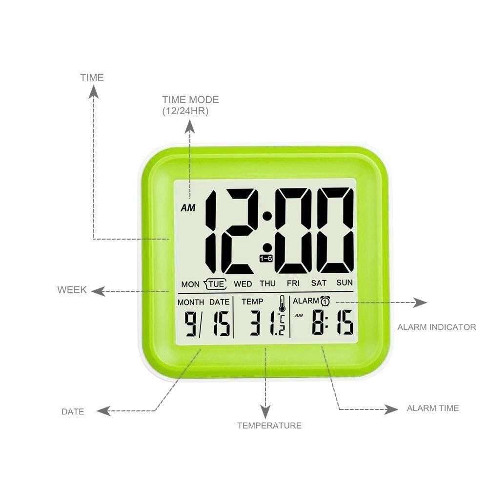 niceEshop TM Vert R/éveil Digital Triangulaire en ABS avec LED Affichage de Temp/érature