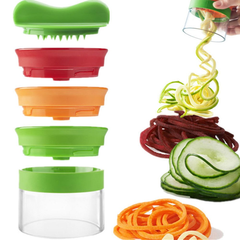Vegetable Spiralizer Slicer Home Kitchen Handheld 3 Blade Cutter Peelers Chopper Graters Shreds Cuts Ribbons for Zucchini Noodles Veggie Spaghetti Pasta Slicing Carrot Potato Cucumber Yxaomite