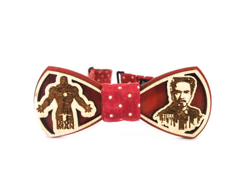 Red Wooden bow tie by Krago for child Marvel Comics Captain Iron Man Spider Man Krago Captain America Iron Man (Captain America)
