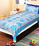 Homefab India Patch 120 TC Cotton Single Bedsheet with Pillow Cover - Modern, Blue