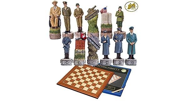 italfama Juego Ajedrez Bosquejo tematici (resina, circulares estilo dilataciones a mano, figure la 2ª Guerra Mundial norteamericanos vs Tedeschi.
