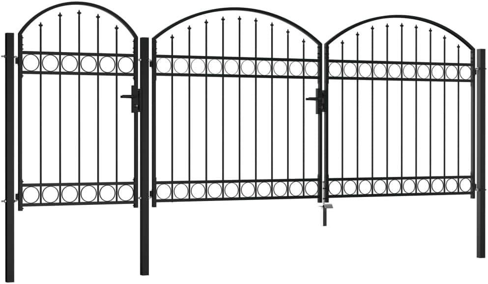 Festnight Puerta de Valla Jardín con Arco Superior Acero Puertas Metalicas Exterior Negro 1,75x4 m: Amazon.es: Hogar