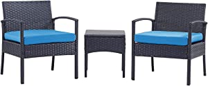 PCAFRS 3 Piece Patio Furniture Set, PE Rattan Wicker 3 Pcs, Outdoor Wicker Rattan Conversation Set with Coffee Table, Chairs & Thick Cushions, Conversation Chair Set for Garden, Porch, Poolside (Blue)