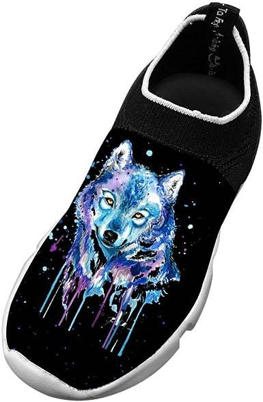 XieZbd Kids Wolves 3D Print Fly Knit Sneaker Shoes