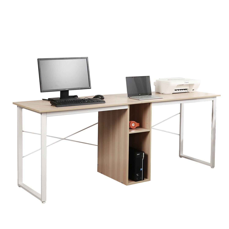 "Mixcept2-Person Computer Desk with Storage, 78"" Large Home Office Desk, Wood Double Workstation Writing Desk,HZ011-200-MO-MI(White Oak)"