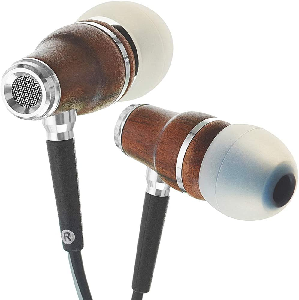 Amazon Com Symphonized Nrg 3 0 Wood Earbuds Wired In Ear Headphones With Microphone For Computer Laptop Ear Phones For Android With Stereo Sound Black Gray