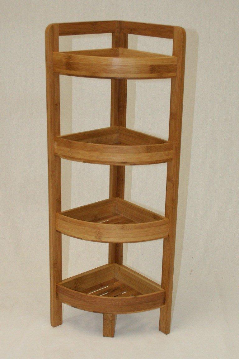 eHemco 4 Tier Bamboo Corner Shelf in Dark Oak