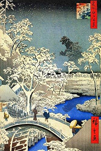 Kaiju Monster at Meguro Drum Bridge Utagawa Hiroshige Art Humor Poster 12x18 inch