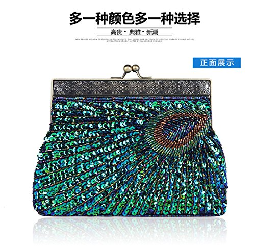 Beaded Evening Peacock Green Purse Bag Sequin Women Women Beaded Clutch Sequin WFa8Ctv